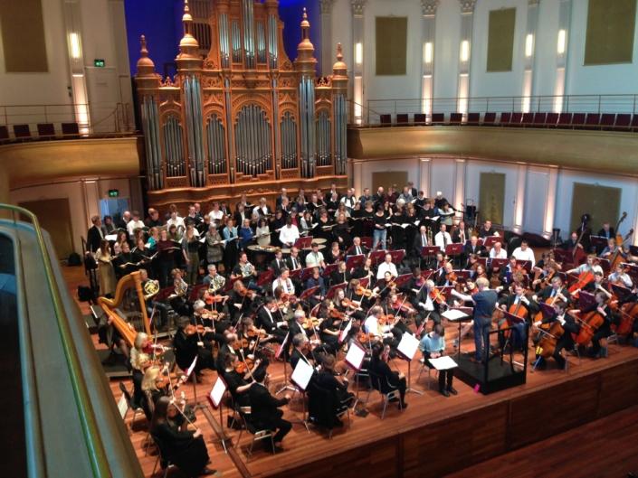 Foto van repetitie in de Philharmonie in Haarlem