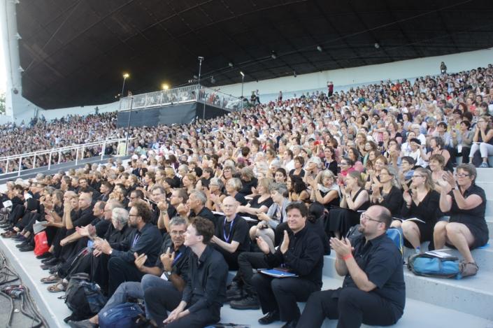 Foto van tribune bij Europa Cantat 2018 in Tallinn