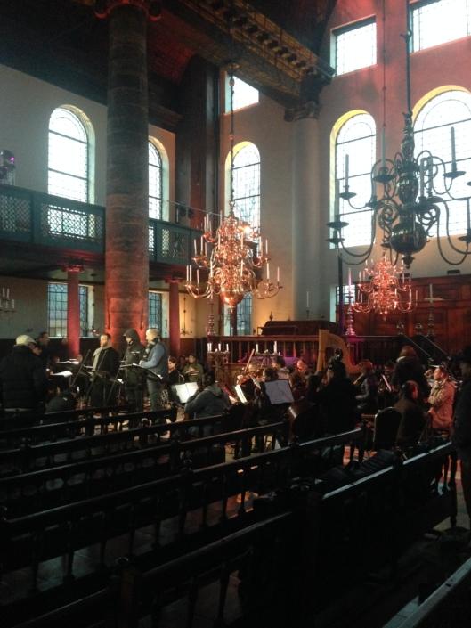 Foto van opname NY Cantors in synagoge