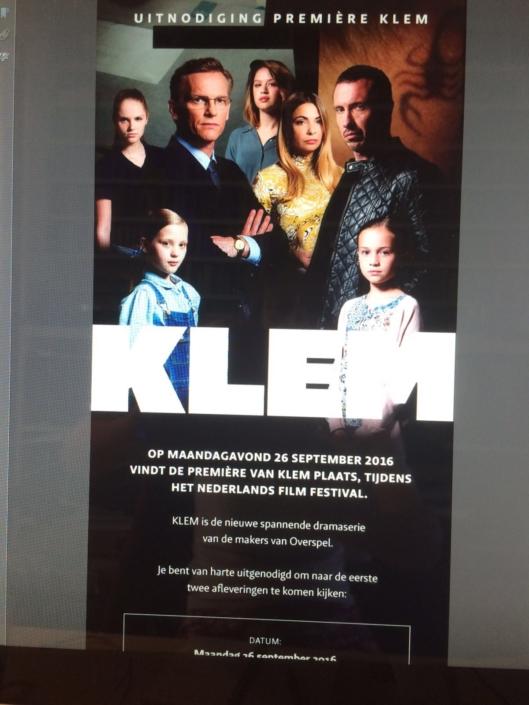 Uitnodiging première-feestje dramaserie KLEM