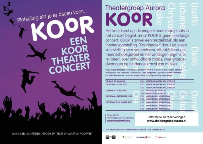 Flyer van theaterconcert Koor in 2010